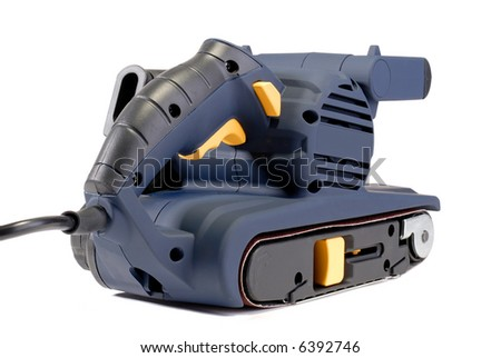 Electric Power Tool Belt Sander, Isolated Over White - stock photo