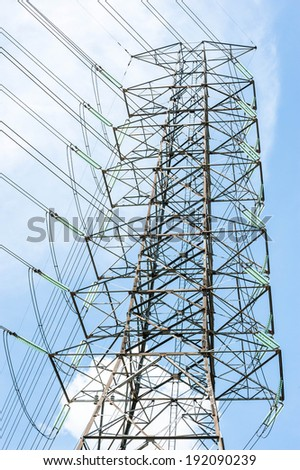 electric power tower and transmission lines