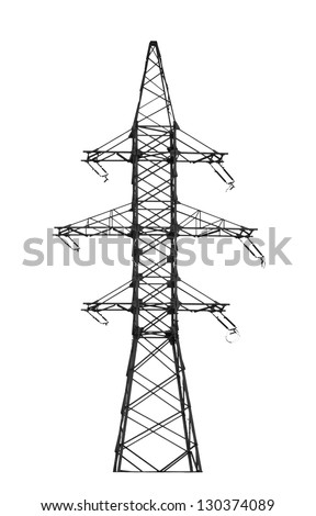 Electric power tower on white. - stock photo