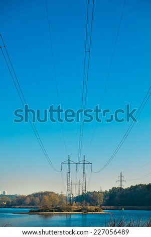 Electric power transferring at lake