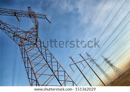 Electric powerlines. Power Lines. - stock photo