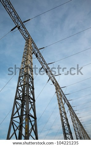 Electric Powerlines with Cloudy Sky
