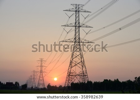 electric pylon and sunset light