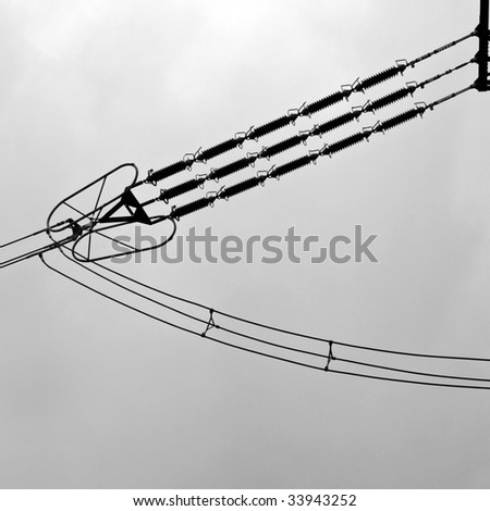 electric pylon - cables and insulators detail - stock photo