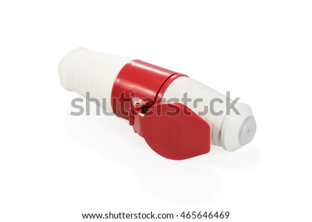 Electric red-and-white plug inserted into the high voltage socket with fixation isolated on white background