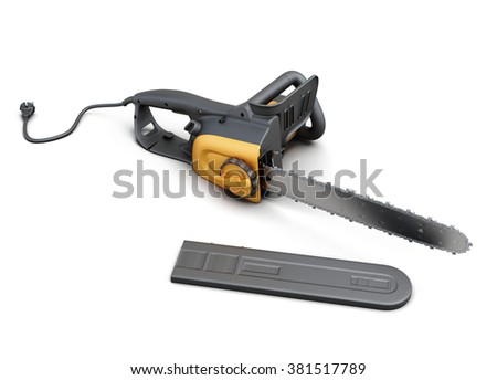 Electric saw with case on white background. 3d rendering.