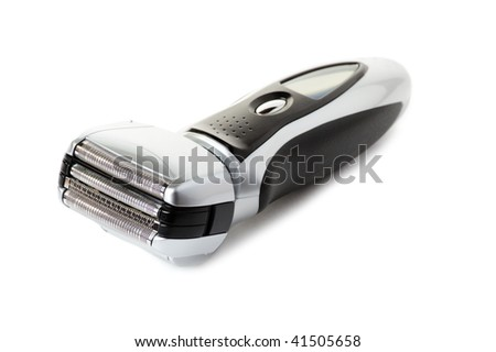 Electric shaver on white background
