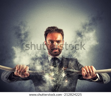 Electric Shock of a businessman with broken cable - stock photo