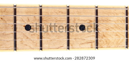 electric six-string guitar fretboard, isolated on white - stock photo