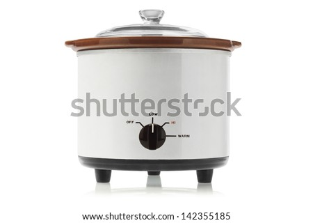 Electric Slow Cooker On White Background - stock photo