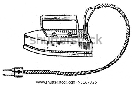 electric smoothing-iron - an illustration of the ABC sewing, Peasant Newspaper Publishers, Moscow, USSR, 1931 - stock photo