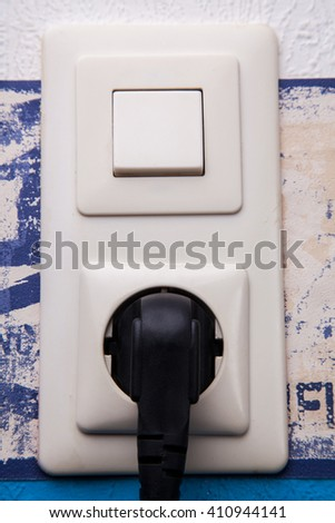 electric socket and connector - stock photo