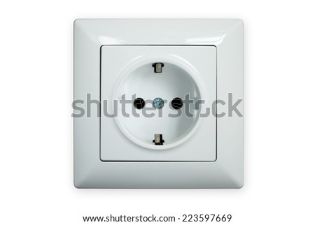 Electric socket isolated on a white background - stock photo
