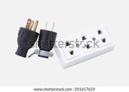 Electric socket isolated over white background - stock photo
