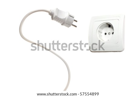 Electric socket isolated over white background - stock photo