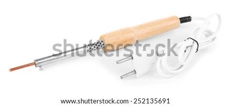 Electric soldering iron isolated on white - stock photo
