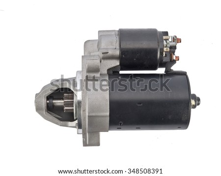 Electric Starter for a car with solenoid isolated on white background. Car spare parts - stock photo