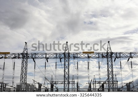 electric station in evening sky background