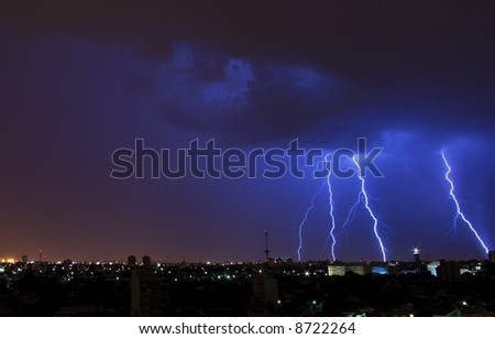 Electric Storm over the City - stock photo