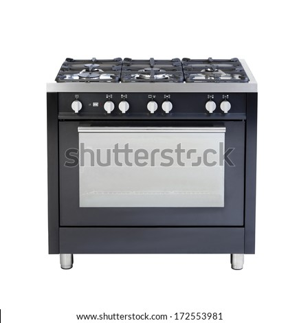 Electric stove and oven a useful kitchenware isolated on white  - stock photo