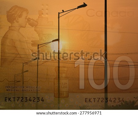 Electric street lamps and Canadian 100 dollar bill, a double exposure shot for demonstrating spend on electricity  - stock photo