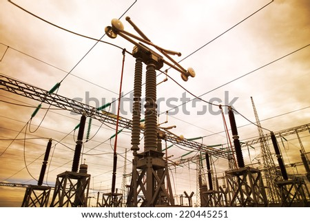Electric substation in Chile - stock photo
