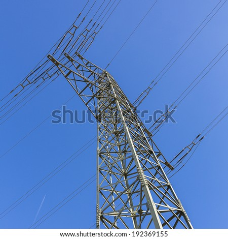 electric supply on blue sky power cable electricit