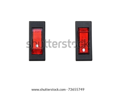 Electric Switch on-off Isolate on White background - stock photo