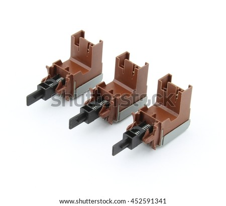 Electric switches, isolated on white background - stock photo
