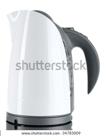 Electric tea kettle isolated on white - stock photo