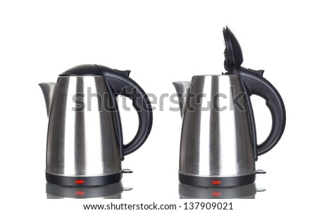 Electric tea kettle on a white background. - stock photo