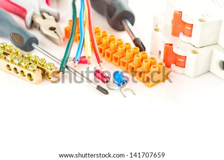 electric tools on a white background - stock photo