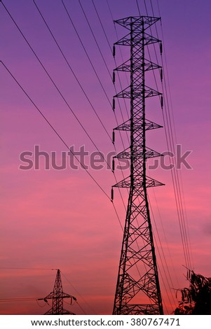 Electric tower at beautiful sky : Sunset