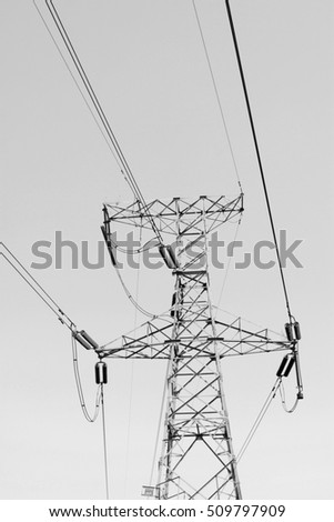 electric tower in the blue sky, steel power transmission facilities