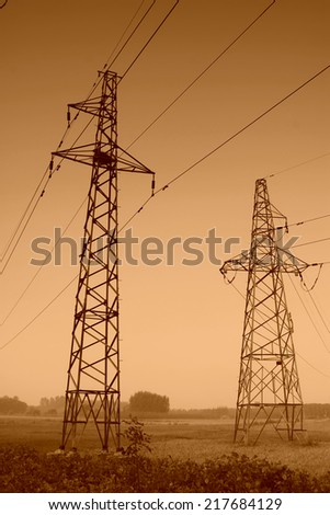 electric tower in the sky, steel power transmission facilities