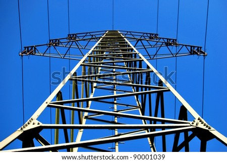 Electric Towers and blue sky - stock photo