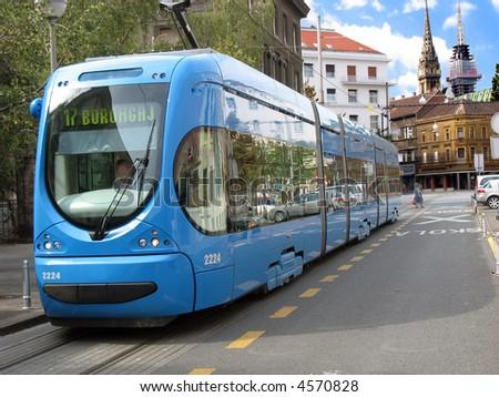 Electric trains in Zagreb - stock photo