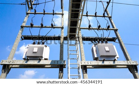 Electric transformer in factory - stock photo
