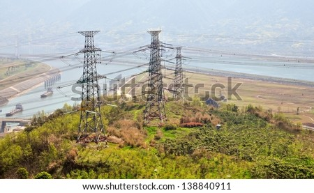 Electric Transmission Lines and Towers - Three Gorges Dam, China - stock photo