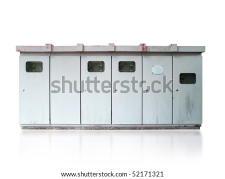 Electric utility boxes isolated on white - stock photo