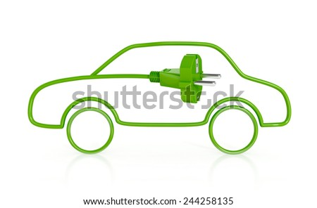 Electric Vehicle. Car Power Efficiency . Green Concept. 3d illustration isolated on white background. - stock photo