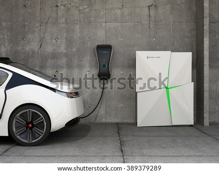 Electric vehicle charging station for home. The charge point powered by battery storage system. Original design.