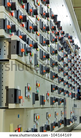 Electric voltage control room of a plant - stock photo