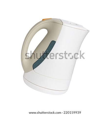 Electric white kettle on the white background
