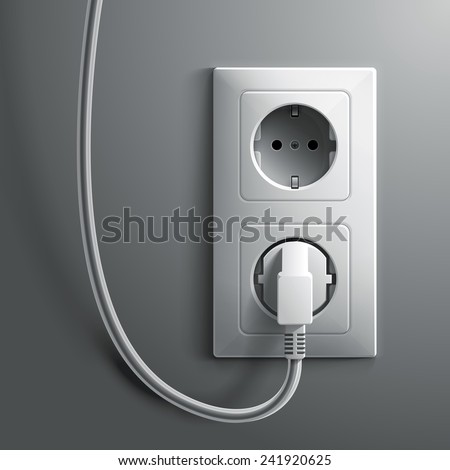 Electric white plug and socket on grey wall illustration - stock photo