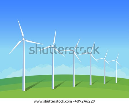 Electric windmills on green grass field on background blue sky. Ecology environmental illustration for presentations, websites, infographics. Flat art