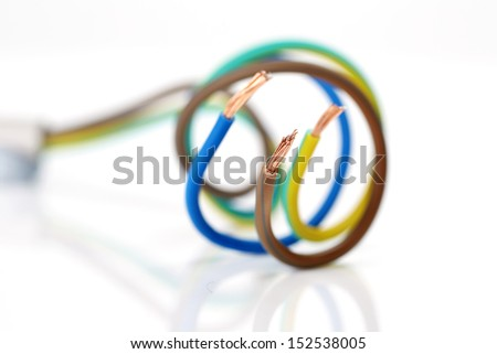 Electric wire isolated on white - stock photo
