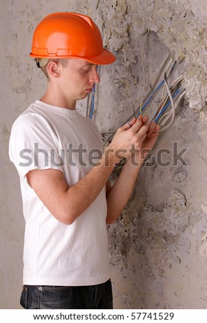Electric wire repairs - stock photo