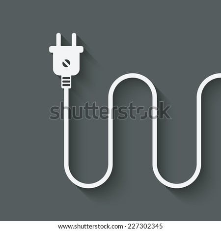 electric wire with plug -  illustration - stock photo