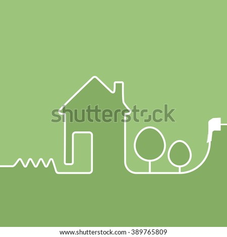 electric wire with plug showing house on a green background - stock photo
